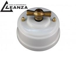 Выключатель (переключатель) фарфоровый поворотный проходной, цвет bianco (белый), ручка бронза