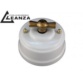 Выключатель фарфоровый поворотный одноклавишный, цвет bianco (белый), ручка бронза