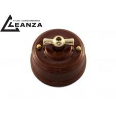Выключатель (переключатель) фарфоровый поворотный проходной, цвет bruno (коричневый), ручка золото