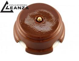 Коробка распаячная монтажная фарфоровая, цвет bruno (коричневый), золотистый колпачок