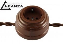 Розетка фарфоровая проходная с/з, цвет bruno (коричневый), серебристый саморез