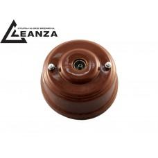 Розетка телевизионная оконченная фарфоровая, цвет bruno (коричневый), серебристые колпачки