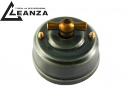 Выключатель (переключатель) фарфоровый поворотный проходной, цвет grigio (серый), ручка бронза