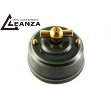 Выключатель фарфоровый поворотный одноклавишный, цвет grigio (серый), ручка золото