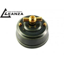 Выключатель фарфоровый поворотный двухклавишный, цвет grigio (серый), ручка золото