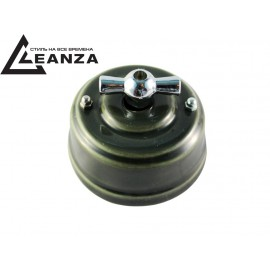 Выключатель фарфоровый поворотный двухклавишный, цвет grigio (серый), ручка серебро