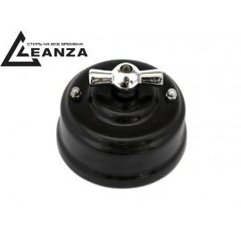 Выключатель (переключатель) фарфоровый поворотный проходной, цвет nero (черный), ручка серебро