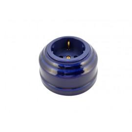 Розетка фарфоровая с/з, цвет azzurra (лазурный), золотистая фурнитура