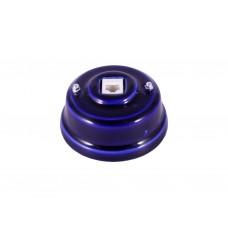 Розетка телефонная RJ 11 фарфоровая, цвет azzurra (лазурный), серебристая фурнитура