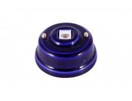 Розетка телефонная RJ 11 фарфоровая, цвет azzurra (лазурный), золотистая фурнитура
