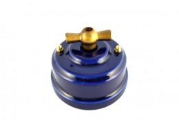 Выключатель (переключатель) фарфоровый поворотный одноклавишный проходной, цвет azzurra (лазурный), ручка бронза