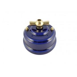 Выключатель (переключатель) фарфоровый поворотный одноклавишный проходной, цвет azzurra (лазурный), ручка золото