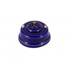Выключатель (переключатель) фарфоровый однорычажковый проходной на 2 направления, цвет azzurra (лазурный), тумблер бронза