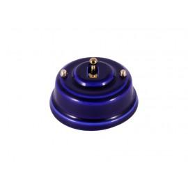 Выключатель однорычажковый фарфоровый, цвет azzurra (лазурный), тумблер золото
