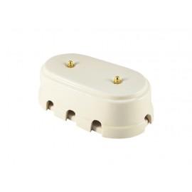 Коробка распаячная монтажная фарфоровая большая с восемью входами, цвет bianco (белый), золотистая фурнитура