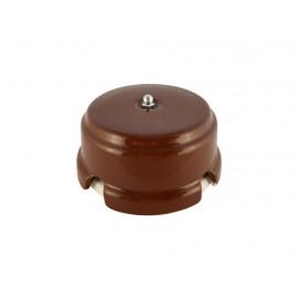 Коробка распаячная монтажная фарфоровая, цвет bruno (коричневый), серебристая фурнитура