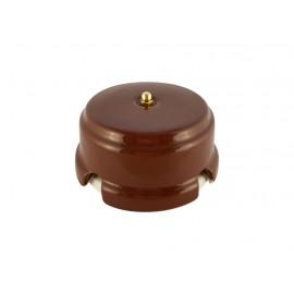 Коробка распаячная монтажная фарфоровая, цвет bruno (коричневый), золотистая фурнитура