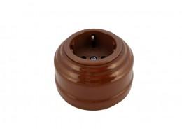 Розетка фарфоровая с/з, цвет bruno (коричневый), серебристая фурнитура