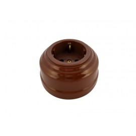 Розетка фарфоровая с/з, цвет bruno (коричневый), золотистая фурнитура