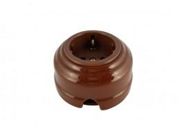 Розетка фарфоровая проходная с/з, цвет bruno (коричневый), золотистая фурнитура