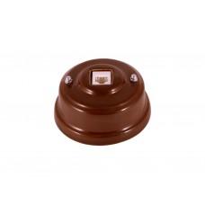 Розетка телефонная RJ 11 фарфоровая, цвет bruno (коричневый), серебристая фурнитура