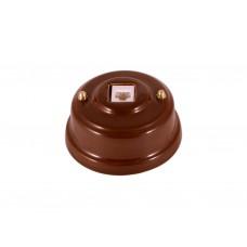 Розетка телефонная RJ 11 фарфоровая, цвет bruno (коричневый), золотистая фурнитура