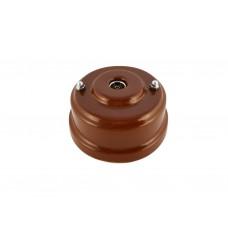 Розетка телевизионная оконченная фарфоровая, цвет bruno (коричневый), серебристая фурнитура