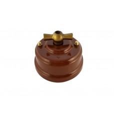 Выключатель (переключатель) фарфоровый поворотный проходной, цвет bruno (коричневый), ручка бронза