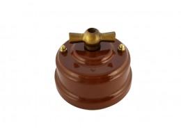 Выключатель (переключатель) фарфоровый поворотный одноклавишный проходной, цвет bruno (коричневый), ручка бронза