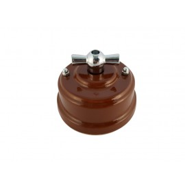 Выключатель фарфоровый поворотный двухклавишный, цвет bruno (коричневый), ручка серебро