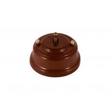 Выключатель (переключатель) фарфоровый однорычажковый проходной на 2 направления, цвет bruno (коричневый), тумблер бронза