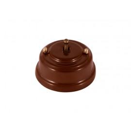 Выключатель однорычажковый фарфоровый, цвет bruno (коричневый), тумблер бронза
