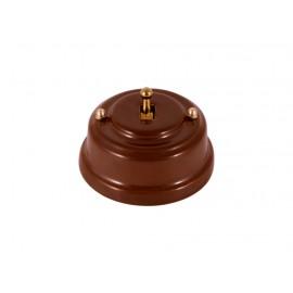 Выключатель однорычажковый фарфоровый, цвет bruno (коричневый), тумблер золото