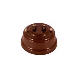 Выключатель двухрычажковый фарфоровый, цвет bruno (коричневый), тумблер бронза