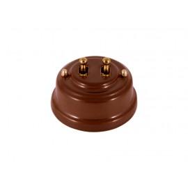 Выключатель двухрычажковый фарфоровый, цвет bruno (коричневый), тумблер золото