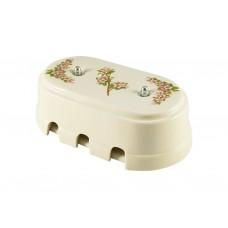 Коробка распаячная монтажная фарфоровая большая с шестью входами, цвет fiori rosa (розовые цветы), серебристая фурнитура
