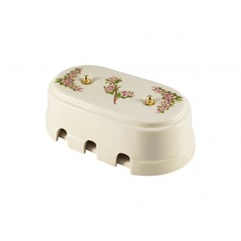 Коробка распаячная монтажная фарфоровая большая с шестью входами, цвет fiori rosa (розовые цветы), золотистая фурнитура
