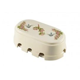 Коробка распаячная монтажная фарфоровая большая с восемью входами, цвет fiori rosa (розовые цветы), серебристая фурнитура