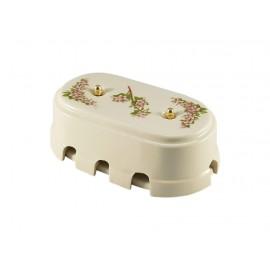 Коробка распаячная монтажная фарфоровая большая с восемью входами, цвет fiori rosa (розовые цветы), золотистая фурнитура