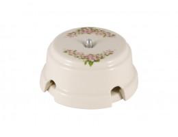 Коробка распаячная монтажная фарфоровая, цвет fiori rosa (розовые цветы), серебристая фурнитура