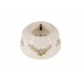Розетка фарфоровая с/з, цвет fiori rosa (розовые цветы), серебристая фурнитура