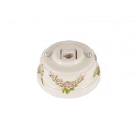 Розетка телефонная RJ 11 фарфоровая, цвет fiori rosa (розовые цветы), серебристая фурнитура