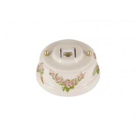Розетка телефонная RJ 11 фарфоровая, цвет fiori rosa (розовые цветы), золотистая фурнитура