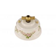 Выключатель фарфоровый поворотный двухклавишный, цвет fiori rosa (розовые цветы), ручка бронза