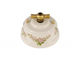 Выключатель (переключатель) фарфоровый поворотный одноклавишный проходной, цвет fiori rosa (розовые цветы), ручка бронза