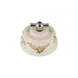 Выключатель (переключатель) фарфоровый поворотный одноклавишный проходной, цвет fiori rosa (розовые цветы), ручка серебро