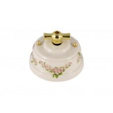 Выключатель фарфоровый поворотный двухклавишный, цвет fiori rosa (розовые цветы), ручка золото