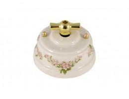 Выключатель (переключатель) фарфоровый поворотный одноклавишный проходной, цвет fiori rosa (розовые цветы), ручка золото