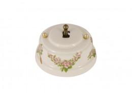 Выключатель однорычажковый фарфоровый, цвет fiori rosa (розовые цветы), тумблер бронза