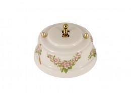 Выключатель однорычажковый фарфоровый, цвет fiori rosa (розовые цветы), тумблер золото